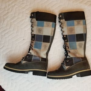 Timberland Shoes - Timberland Tall patchwork boots Size 7M
